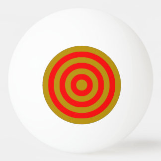 Ping Pong Ball - Gold and Red Inner Circles