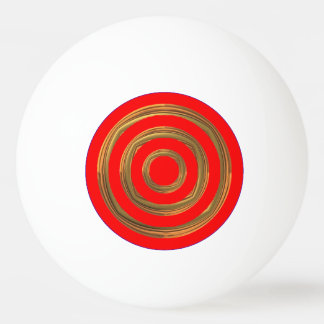 Ping Pong Ball - Red and Rough-Gold Circles