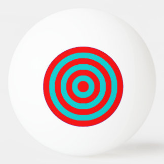 Ping Pong Ball - Red and Turquoise Circles