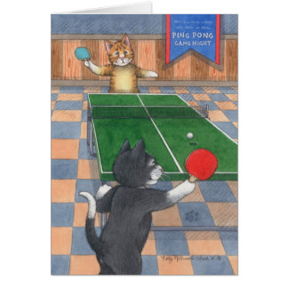 Ping Pong Cats Birthday Bud & Tony Notecard Greeting Card
