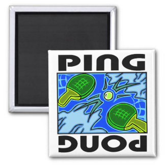Ping Pong Paddles and Ball Table Tennis Square Magnet
