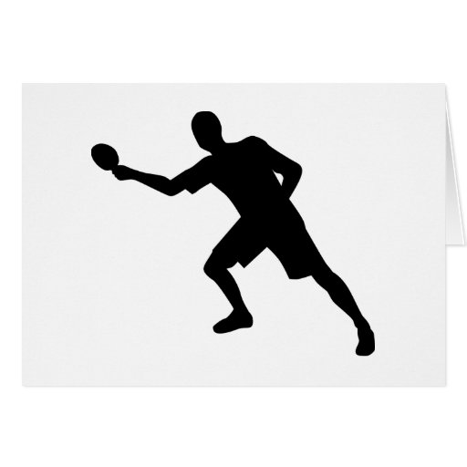 Ping pong player greeting card
