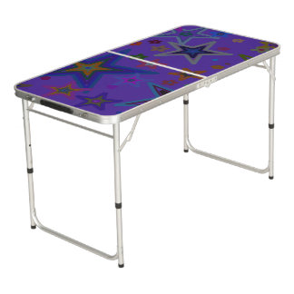 Ping Pong Table Tennis Big Stars Purple Background