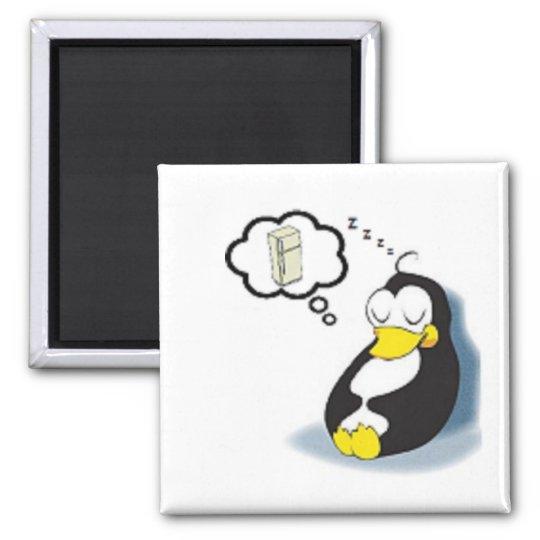Pinguim sonhando com a geladeira square magnet