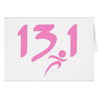 Pink 13.1 half-marathon note card