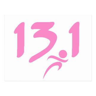 Pink 13.1 half-marathon postcard