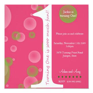 "Pink 1st Birthday #1 5.25"" Square Invitation Card"