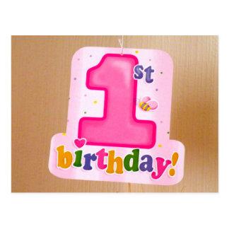 Pink 1st Birthday Tag on Door Postcard