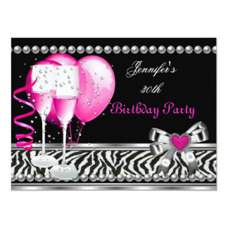 Pink 30th Birthday Party Zebra Black Champagne 6.5x8.75 Paper Invitation Card