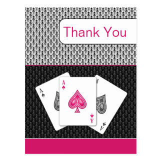 pink 3 aces vegas wedding Thank You cards Postcard