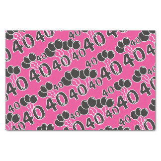 "PINK 40th Birthday 10"" X 15"" Tissue Paper"