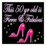 PINK 50 AND FABULOUS BIRTHDAY DESIGN POSTER