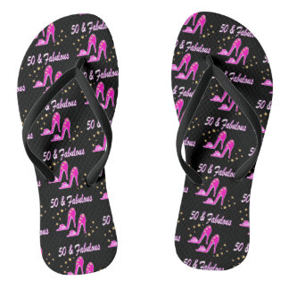 PINK 50 AND FABULOUS BIRTHDAY SHOE DESIGN FLIP FLOPS