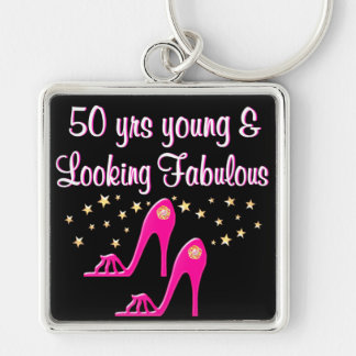 PINK 50 YEARS YOUNG AND FABULOUS Silver-Colored SQUARE KEY RING