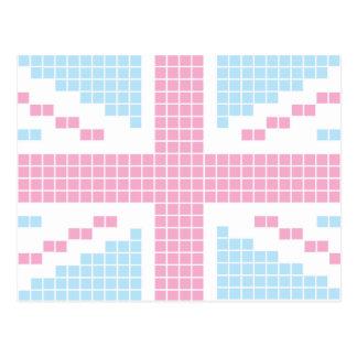 Pink 8-bit Pixels Union Jack British UK Flag Postcards