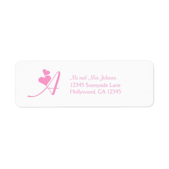 "Pink ""A"" Monogram Return Address Label"