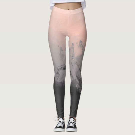 Pink Abstract Brushstrokes Leggings