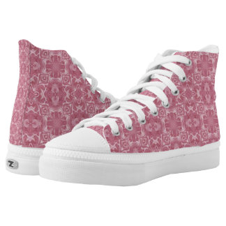 Pink Abstract Design Hi Top Shoes Printed Shoes