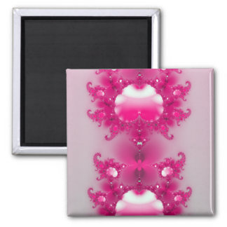 Pink Abstract Floral Square Magnet