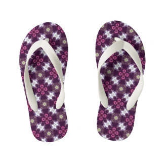 Pink Abstract Flower Pattern Kid's Flip Flops