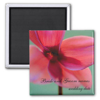 Pink Abstract Flower Square Magnet