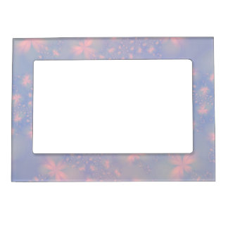 Pink Abstract Flowers on Blue Magnetic Frame