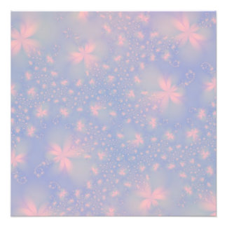 Pink Abstract Flowers on Blue Photo Print