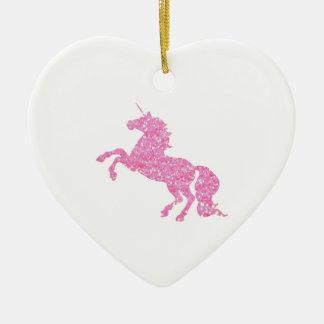 Pink Abstract Glitter Effect Unicorn Ceramic Heart Decoration