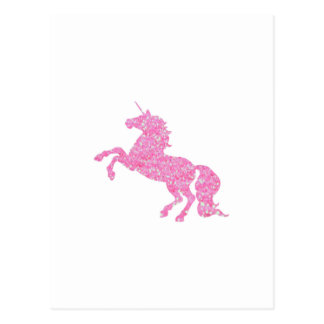 Pink Abstract Glitter Effect Unicorn Postcard