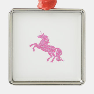 Pink Abstract Glitter Effect Unicorn Silver-Colored Square Decoration