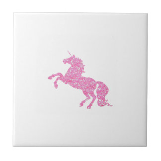 Pink Abstract Glitter Effect Unicorn Small Square Tile