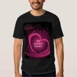 Pink Abstract Heart Basic Dark T Shirt