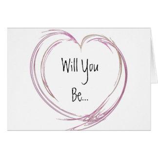 Pink Abstract Heart Be My Bridesmaid Greeting Card