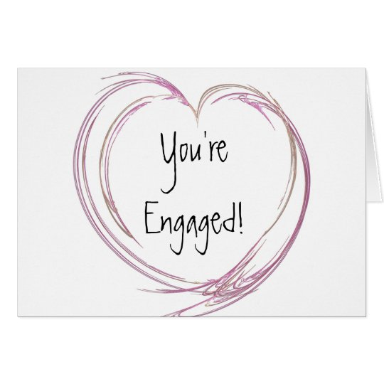 Pink Abstract Heart Engagement Card