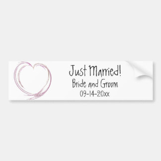Pink Abstract Heart Just Married Wedding Bumper Sticker