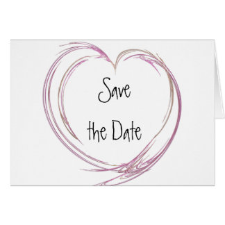 Pink Abstract Heart Save the Date Announcement