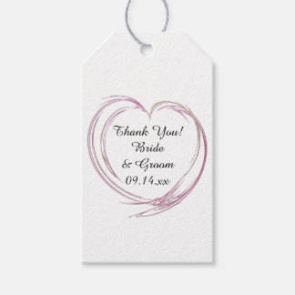 Pink Abstract Heart Wedding Favor Tags