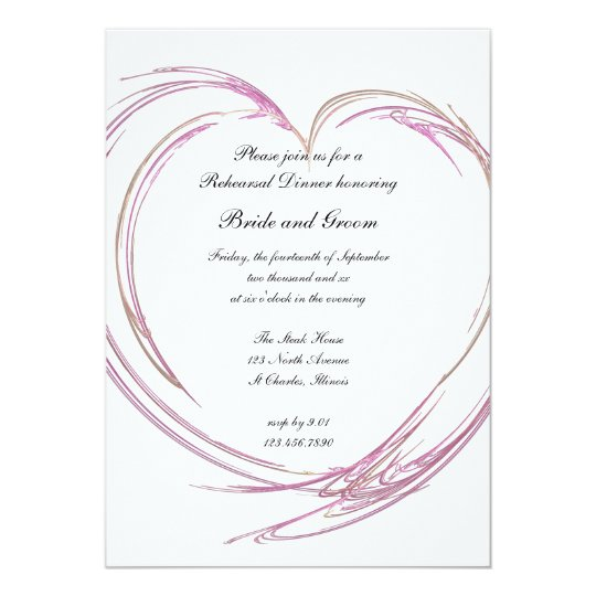 Pink Abstract Heart Wedding Rehearsal Dinner Card