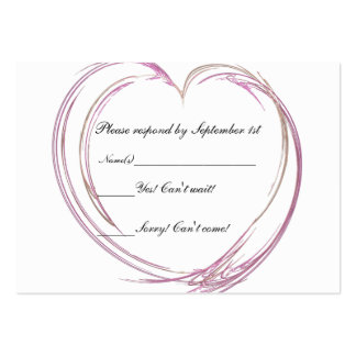 Pink Abstract Heart Wedding Response Card Business Card Template