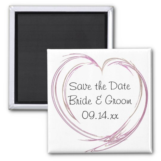 Pink Abstract Heart Wedding Save the Date Magnet