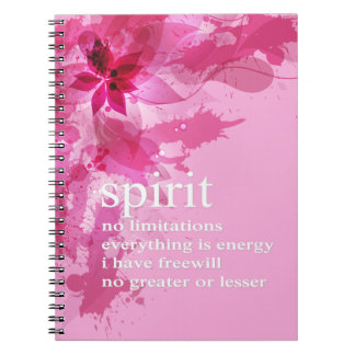 Pink Abstract Inspirational Spiritual Quote Spiral Notebooks