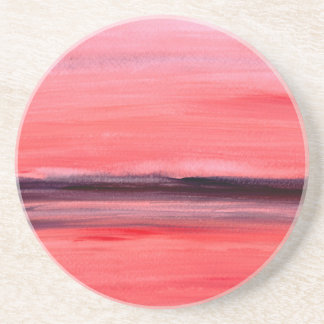 Pink abstract watercolour painting coaster
