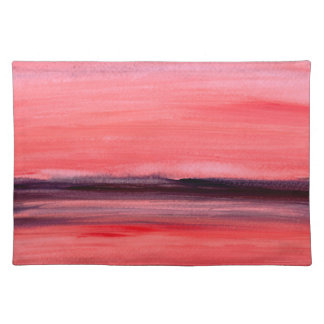 Pink abstract watercolour painting placemat
