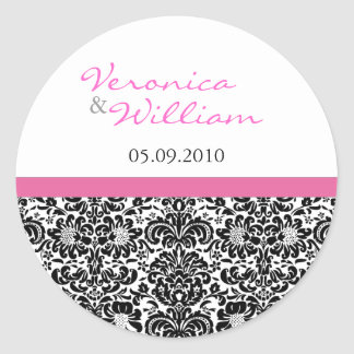 Pink Accent Damask Save the Date Sticker