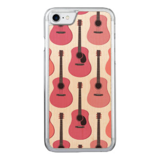 Pink Acoustic Guitars Pattern Carved iPhone 8/7 Case