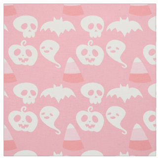 Pink Adorable Halloween Pattern Fabric