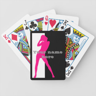 Pink adult dancing girl silhouette bicycle playing cards
