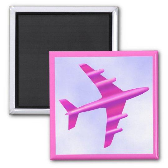 Pink Aeroplane Square Magnet