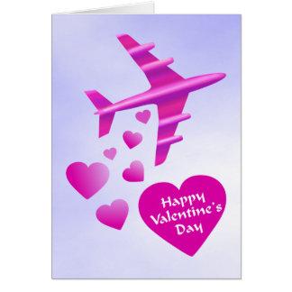 Pink Aeroplane Valentine Cards
