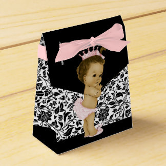 Pink African American Baby Girl Shower Favour Box